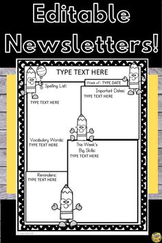 Editable Newsletters - 48 different themes! Just click and edit your NEWSLETTER Spelling Lists, Spelling Words, Classroom Games, Ways To Communicate, Important Dates, Going Back To School, Vocabulary Words, Teaching Tips, Helping Others