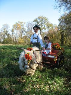 My children in festival costumes with our Angora goat pulling a cart.