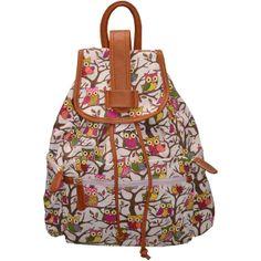 Mafalda owl print rucksack at Pop Couture ($34) ❤ liked on Polyvore