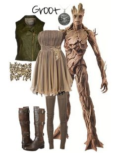 Boho Fashion Ideas Groot Inspired Outfit - Marvel& Guardians of the Galaxy Marvel Inspired Outfits, Princess Inspired Outfits, Disney Themed Outfits, Disney Inspired Fashion, Character Inspired Outfits, Disney Bound Outfits, Casual Cosplay, Cosplay Outfits, Fandom Fashion