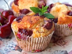 Cherry Muffins, Brown Sugar Bacon, No Bake Desserts, Sweet Recipes, Food And Drink, Baking, Breakfast, Fresh Cherry, Roses