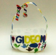 Milk jug Easter basket - can spray paint in advance of decorating as well. or glue on squares of tissue paper? ribbon?