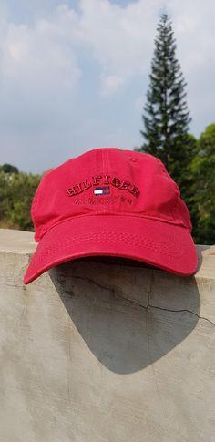 b51aa83d Rare Vintage TOMMY HILFIGER Strap Adjustable Size Cap Hat / Red Dad Hat  HILFIGER Spell Out