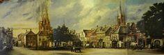 Eindhoven. Het schilderij van de Markt, waarop ook de Catharinakerk en het stadhuis zichtbaar zijn. De afbeeldingen geven de situatie in Eindhoven weer, zoals het er circa 1900 heeft uitgezien.