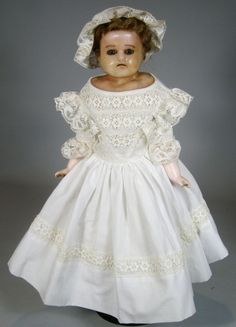 Antique German Wax Over Composition Doll
