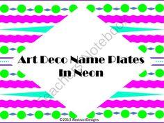 Art Deco Name Plates - In Neon