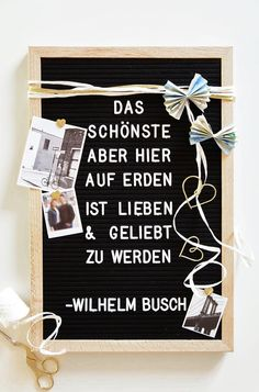 Wedding gifts- Hochzeitsgeschenke Stylish wedding gift in black and white. Simply do it yourself with a letter board, a saying about marriage and some gift ribbon. Family Christmas Gifts, Gifts For Family, Christmas Diy, Diy Gifts For Kids, Diy For Teens, Wedding Frames, Wedding Cards, Diy Crafts Materials, Wedding Greetings