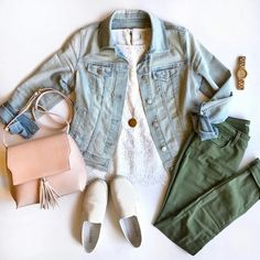 Olive green pants, lace cami, blush purse, white slip ons and denim jacket. Puttingmetogether