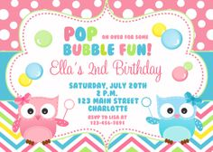 Owl and Bubbles Birthday Party Invitation