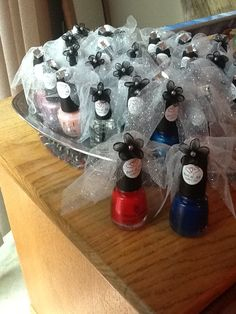 Bridal or wedding shower nail polish favors! With OPI names such as Sweetheart, A Good Man-Darin is Hard to Find, Kiss Me on my Tulips, A Grape Fit, Do you Think I'm Text-y, Tickle My France-y, Pinking of You, I Theodora You, and China Glaze names like Man Hunt, Long Kiss, Light My Tiki, Sex in The City etc