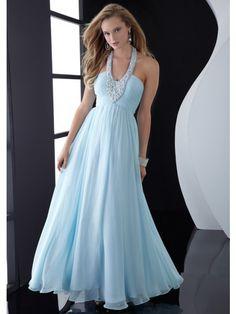A-Line Halter Floor Length Chiffon Dress With Beading