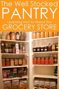 The Well Stocked Pantry - Learn how to stop relying on the grocery store and provide food security for your family! Then you will know how to eat well even in times of need. This is a great pantry. Kitchen Pantry, Kitchen Hacks, Organized Kitchen, Kitchen Ideas, Chutney, Conservation, Food Insecurity, Survival Food, Prepper Food
