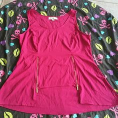Magenta dressy top *NICKI MINAJ* This magenta top is fun for a night out. Has gold zippers in front that can be unzipped for a nice flowy look. NICKI MINAJ  Tops Tank Tops
