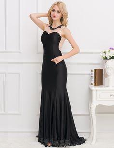 772a92d53a Women s Maxi Mermaid Black Elegant Crochet Detail Evening Formal Dress Plus  Size Lingerie