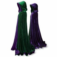 Emerald and Purple Velvet Cape  Momentous occasions call for raiment dignified and appropriate. To that end, we present this elegant formal cape: fully hooded and reversible, falling in a double-thick cascade of plush emerald and purple velvet, tailored with convenient slit arm openings and a reversible velvet-covered button at the neck. Generously cut for graceful drape