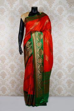 #Orange multioloured pure banarasi #silk mesmerising saree with antique #gold