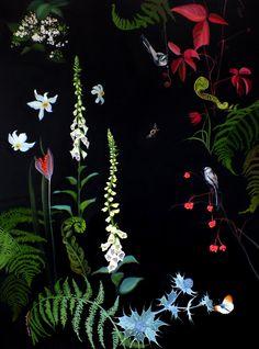 "Saatchi Art Artist: Lara Cobden; Oil 2012 Painting ""Foxgloves and Unfurling Ferns SOLD"""