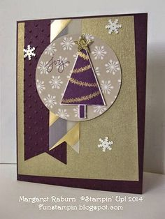 Fun Stamping with Margaret! Festival of Trees set. Blackberry Bliss, Brushed Gold cs, Gold Vellum, Trim the Tree Paper Stack.