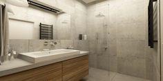łazienka  - betonowy blat   - drewnopodobna szafka   - płytki betnowe lub imitujące beton na ścianie