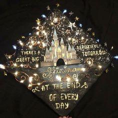 30 Magical Disney Graduation Caps Disney World Grad Cap - Fireworks over Cinderella's castle are a f Teacher Graduation Cap, Graduation Cap Toppers, Graduation Cap Designs, Graduation Cap Decoration, Decorated Graduation Caps, Grad Hat, Caps For Graduation, College Graduation Cap Ideas, High School Graduation Dresses