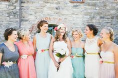 Love this photo of the bridesmaids with the bride! Love the flower belts and mismatched dresses! Farm Wedding, Wedding Bells, Boho Wedding, Wedding Stuff, Dream Wedding, Bridesmaids, Bridesmaid Dresses, Wedding Dresses, Norwegian Wedding