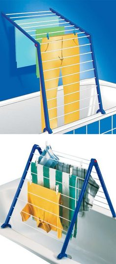 V Indoor Laundry Drying Rack // brilliant idea for swimsuits or rainy days!