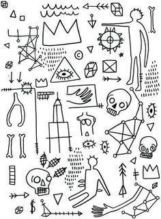 August 04 2018 at from worldintheirart Kritzelei Tattoo, Doodle Tattoo, Doodle Art, Basquiat Tattoo, Jm Basquiat, Jean Michel Basquiat Art, Stick Poke Tattoo, Stick And Poke, Tattoo Flash Art