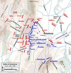 Gettysburg Map, Gettysburg Battlefield, American Civil War, American History, Military Tactics, Civil War Photos, Cartography, Military History, Civilization