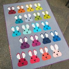 Bunny quilt designed by Elizabeth Hartman. Features Kona Cotton and Essex Yarn Dyed. xxx