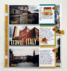 Using photo page protectors to scrapbook, with tabs to pull out a description.