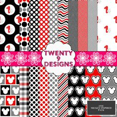 @Carrie Mcknelly Mcknelly Trimble  Mickey Mouse Inspired Digital Paper Pack ONE - INSTANT DOWNLOAD