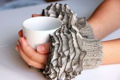 Fingerless Gloves, cozy hand knitted mittens Hand  Knit elegant ruffled gray gloves, frilly gloves gray colored