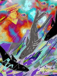 JACQUELINE DITT - Wellenritt limit.Original Grafik signiert  Seehund Bilder Tier