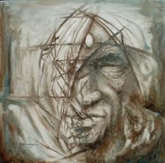 Becoming abstract - oil on canvas - 30x30cm. surreal, drawing, drawings, portrait, quantum, face, original, pencil, surrealist, surrealism, mystical, visage, image, graphite, tim seaward, ablot, physics, dimension, space, time, electron, CERN, standard model.
