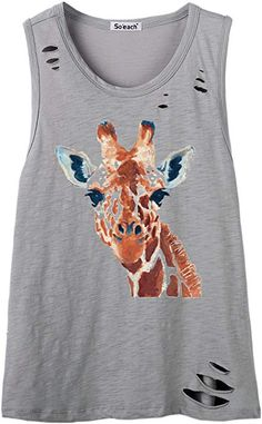 bc8495a78abc7 So each Women s Animal Giraffe Graphic Sexy Hole Tee T-Shirt Cami Tank Top  at Amazon Women s Clothing store