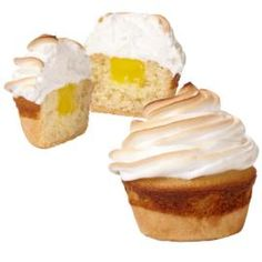 Lemon curd filled homemade cupcakes topped with homemade meringue (instead of icing) & flash-broiled for 30-45 seconds!