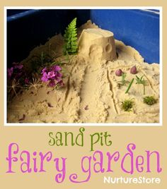 the simplest of 'loose parts' and a child's imagination can combine to create great things :: small world fairy garden in the sand pit