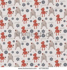 seamless doodle pattern with robots
