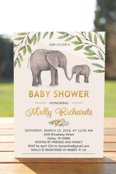 Baby shower invitation elephant, baby shower invitation gender neutral, baby…