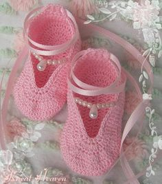 Crochet Pattern Ballet Slippers Baby Booties