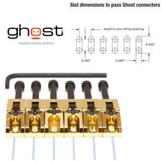 Graph Tech GHOST Loaded Floyd Rose Guitar Saddles Gold Qty 6 - PN-0080-G6