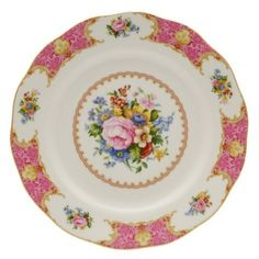 Royal Albert Lady Carlyle Dinner Plate 10-3/4-inches by Royal Albert. $29.15. Dishwasher safe. Bone China. Royal Albert Lady Carlyle Dinner Plate 10-3/4-inches. Royal Albert's Lady Carlyle intricate design features a deep pink hued border, decorated with highly stylised flowers and foliage inspired by the rich textures and style of brocaded fabric. The lavish borders are inset with fresh posies of English country garden flowers, including roses, bluebells, and forget-m...
