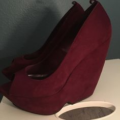 Burgundy G by guess wedges size 8.5 M Burgundy G by guess 8.5 medium heels worned 2 times like new G by Guess Shoes Wedges