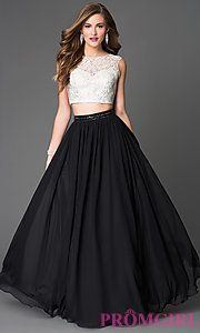 Buy Two Piece Long Sleeveless Prom Dress with Lace Top at PromGirl