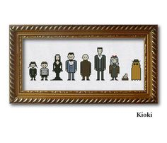 Cross Stitch Pattern Addams family + cousin It Instant Download