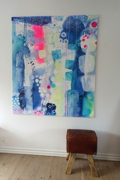 Colourfull abstract painting by Mette Lindberg. www.mettesmaleri.dk