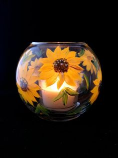 Sunflower Candle Holder or Vase hand painted. Wedding Centerpiece on Etsy, $18.00