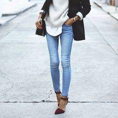 Denim jeans and heels always works.