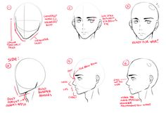 First off, let's see what makes a typical anime male character's face: 1 - The face is generally made of straighter lines 2 - Brow line is lower than a female's. Can also make a male character look cooler 3 - Get rid of sketch layer! Done! For the side view, same rules apply: 4 - The guidelines look almost like a triangle. Remember the adam's apple on the neck! 5 - Using the line as a rough guide, draw bumps for the nose, lips and chin. Lips are not as puffy as a girl's...but well, in my e