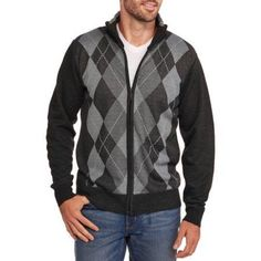 Men's Argyle Full Zip Sweater, Size: Large, Black